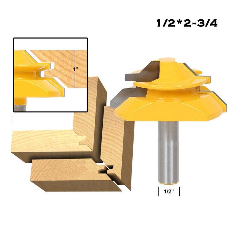 45 Degree Stock Lock Miter Router Bit - 12mm/12.7mm Shank