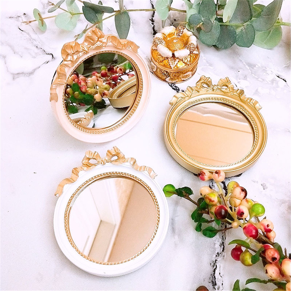 European Vintage Mini Portable Resin Glass Mirror Calm Makeup Plate Gold/pink/white Candy Cake Trays Tool Decoration 10cm*11cm(China)