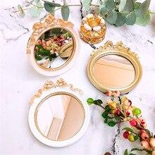 Mini espejo de cristal de resina portátil Vintage europeo plato de maquillaje tranquilo dorado/rosa/blanco caramelo bandejas para pastel herramienta decoración 10cm * 11cm