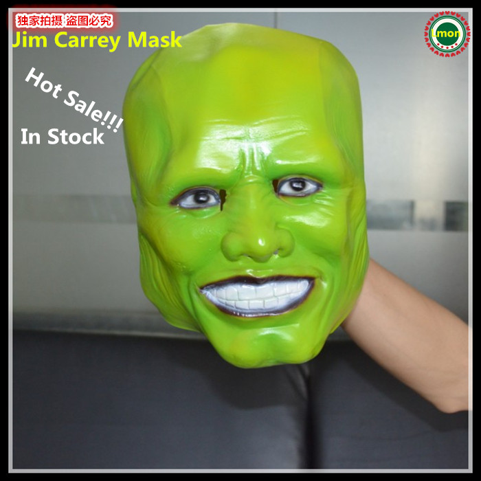 Free shipping Halloween Party Cosplay Movies Famous Mask Trick Jim Carrey The Mask Latex Green Face Mask Latex Full Head Mask image