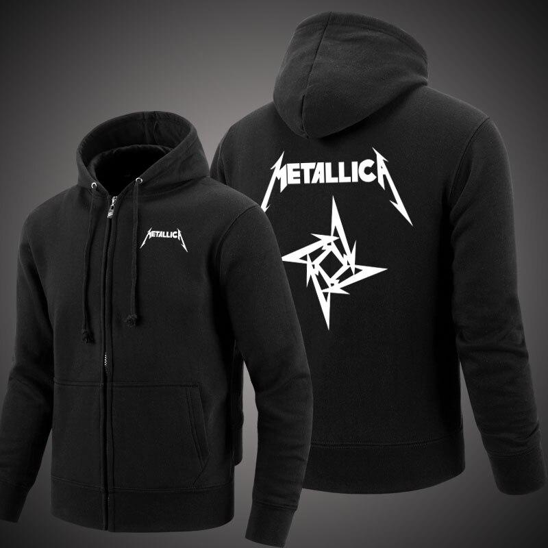 MIDUO 2018 Metallica Rock Métal Lourd Printemps et Automne Hommes Molleton À Capuche En Cachemire À Capuche Cardigan Sweat-Shirts Décontracté Lit