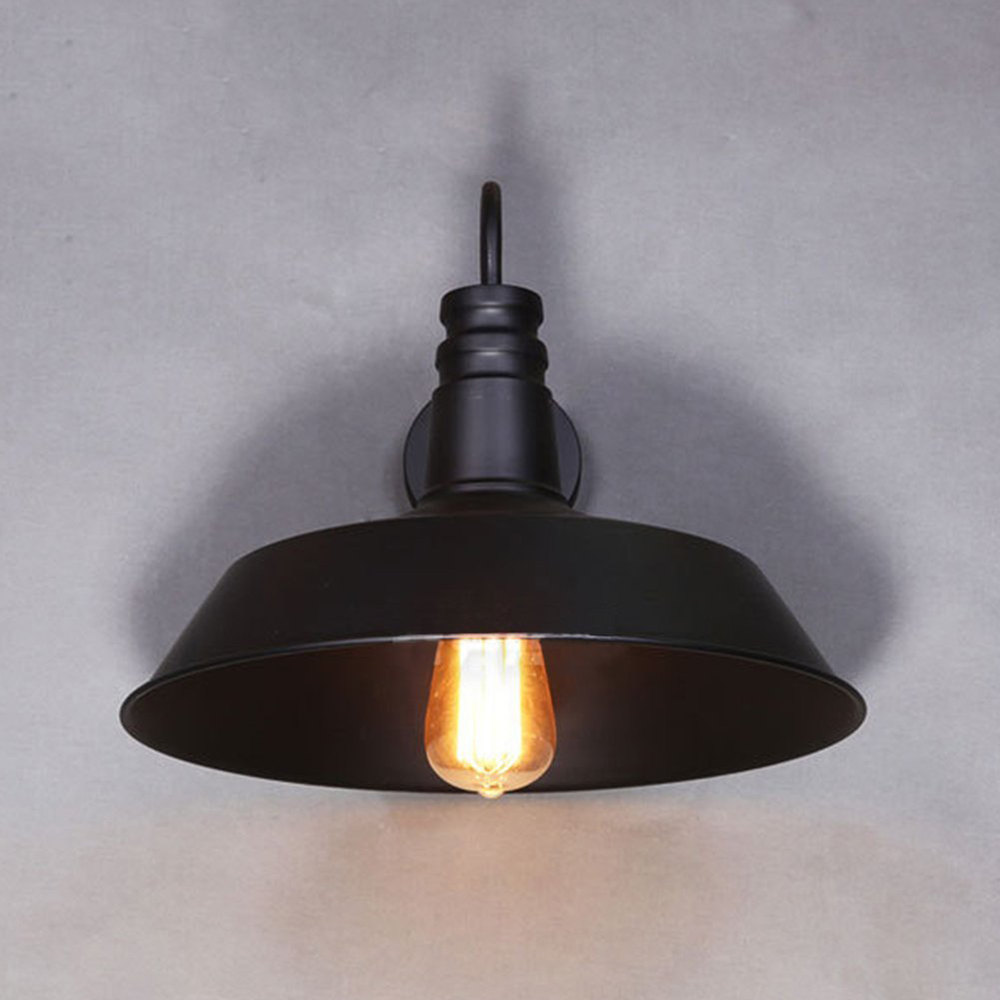 Retro Industrial Edison Simplicity Wall Lamp Antique Lamp with Metal Lamp Shade (Black/White)