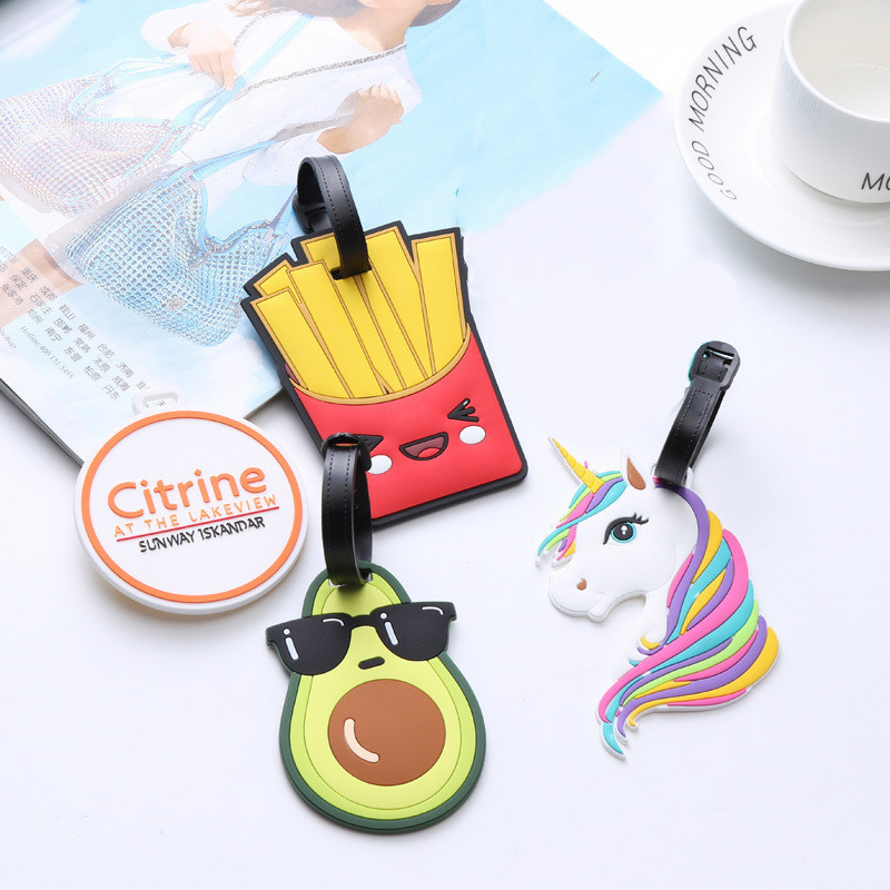 Travel Accessories Avocado French Fries Creative Silicone Gel Luggage Tag Suitcase ID Address Holder Boarding Tag Portable Label