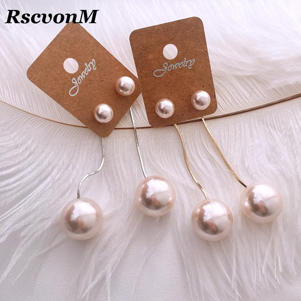 Korean Simulated Pearl Long Tassel Bar Drop Earrings For Women OL Style Sweet Dangle Brincos Party Jewelry Gift Wholesale
