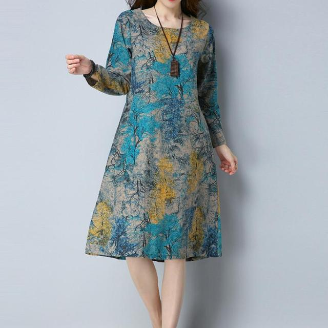 KANCOOLD Dress Fashion Women Long Sleeve O Neck Pocket Dress Cotton Linen Printed Loose Casual Dress women 2018AUG7 6