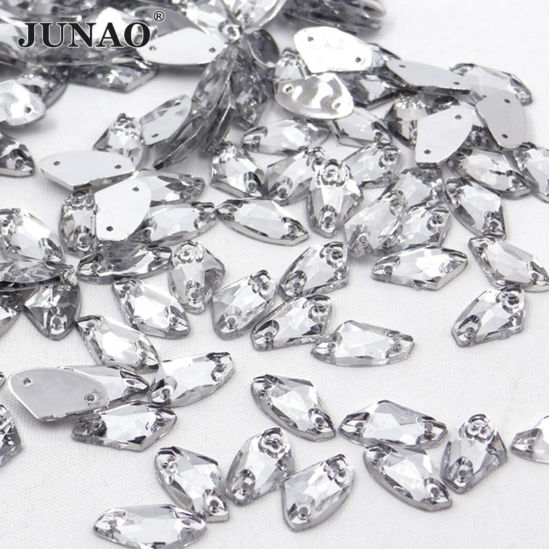 JUNAO 8 * 15mm Clear White Kristallen Naaien Plaksteen Strass Bridal - Kunsten, ambachten en naaien