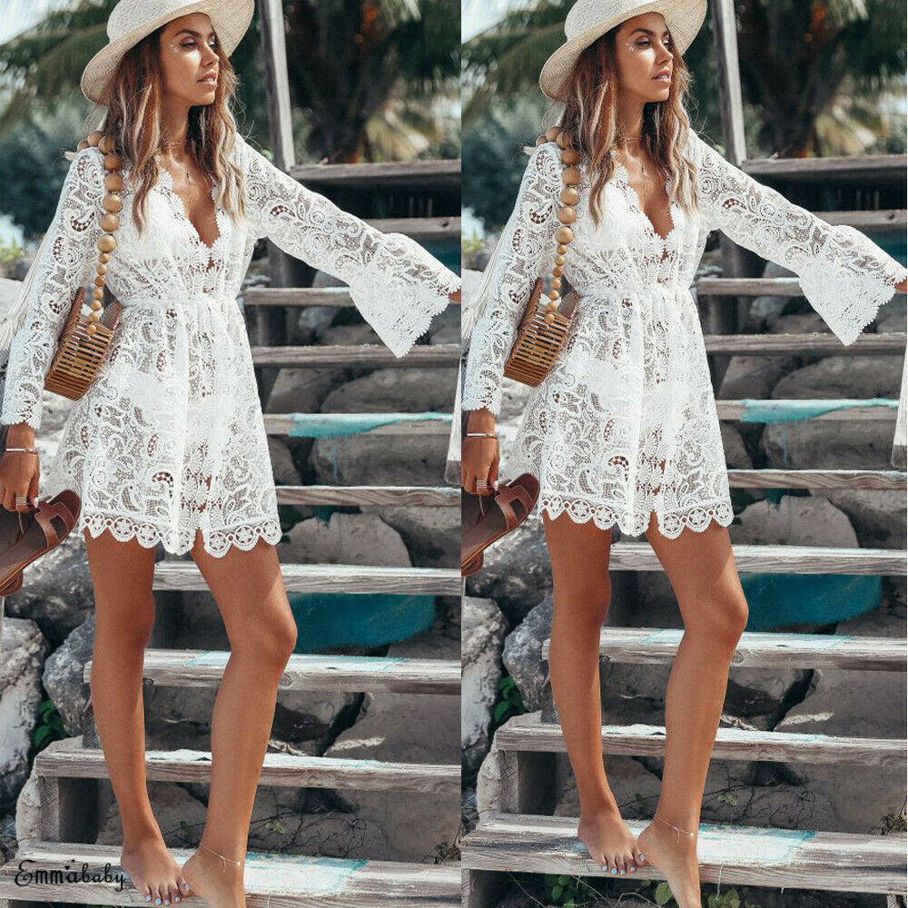 2019 Fashion Women Ladies Fashion Summer V Neck Sexy Lace Bell Sleeve Beach Short Mini Dress White Cutout High Waist Boho Dress