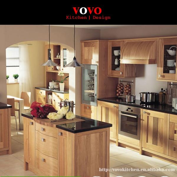 de alta calidad de madera maciza muebles de cocina con encimera de cuarzo