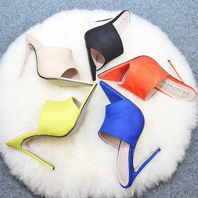 Pointed Toe High Heel Slippers High Heel Slippers Sandals Woman Shoes Sandalias Candy Orange Blue Black Yellow 2019 Summer New