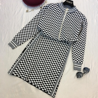 2018 Autumn Winter Two Piece Set Woman New Fashion Knitted White and Black Lattice Zip Cardigan + Package Hip Skirts Knitwear