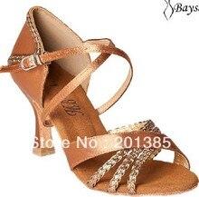 Professional Ladies Girls Tan Satin Latin Ballroom Shoes Salsa Dance Shoes Bachata Dance Shoes Latin Performance