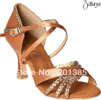 Professional Ladies Girls Tan Satin Latin Ballroom font b Shoes b font font b Salsa b