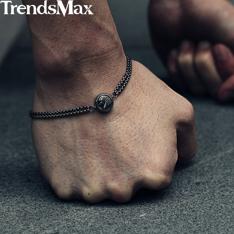 Trendsmax 2Pcs Box Chains Lion Charm Men's Bracelet Stainless Steel Wristband Men Jewelry KDBM02 цена 2017