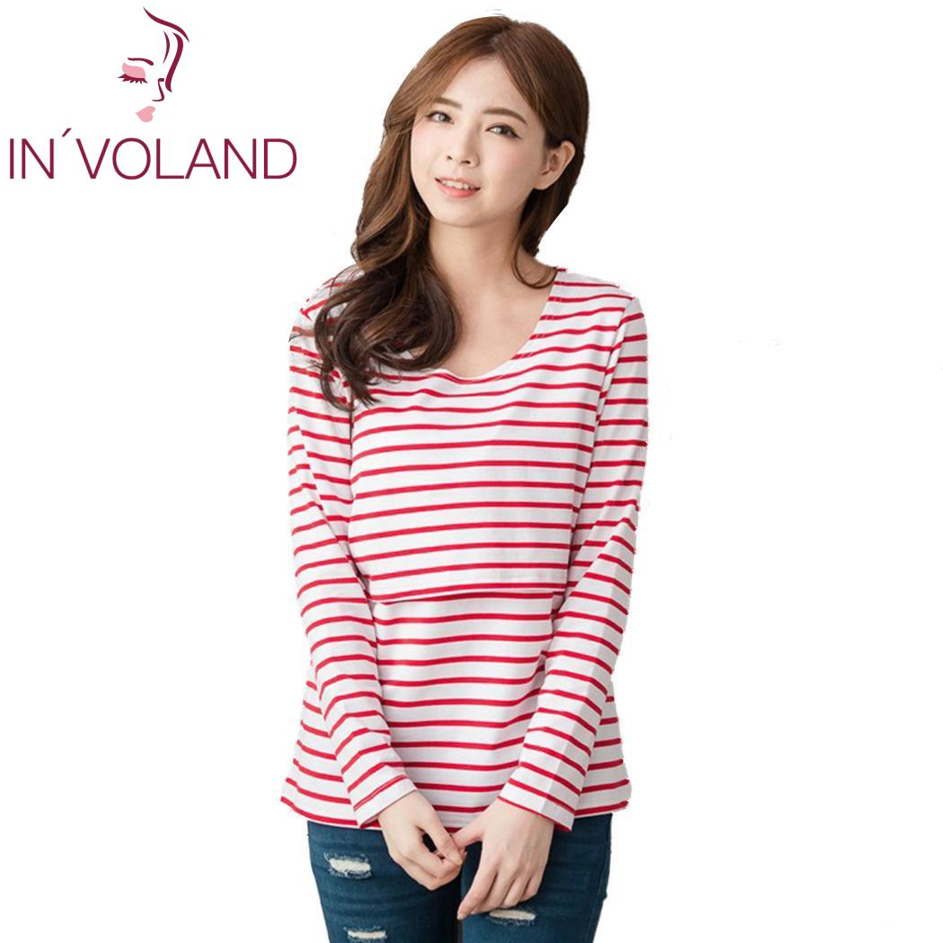 Loose Fashion Women Casual O-Neck Long Sleeve Striped Breast Feeding New Blouse T-shirt  ...