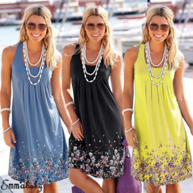 Women Summer Boho Short Dress Loose Evening Party Dresses Plus Size Beach Sundress