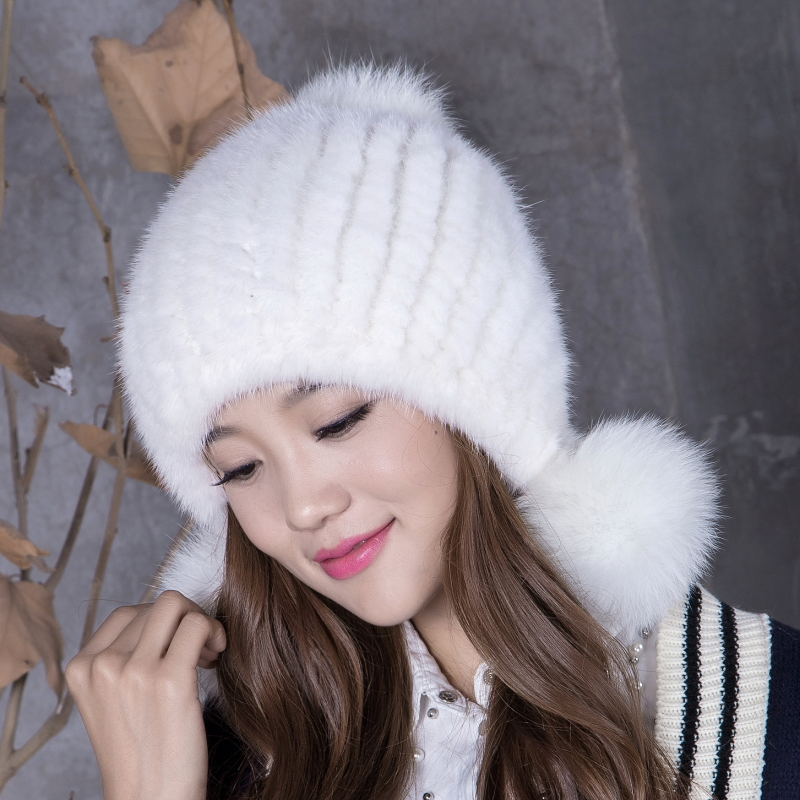 2016 mink fur knitted hat mink fox women's ball winter thermal winter ear protector cap thickening import mink hand knitted pineapple mink hat fur hat thermal millinery rabbit hair hat