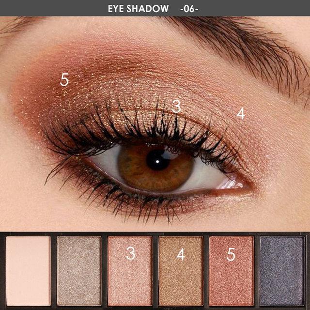 FOCALLURE 6 colors Smokey Matte Eyeshadow Palette Long lasting with Makeup Eye Shadow Brush 1