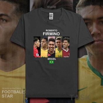 a576b583f9c6 Roberto Firmino t camisa 2018 jersey Brazil Liverpool futbolista estrella  Camiseta 100% algodón fitness camiseta ropa de verano casual 20