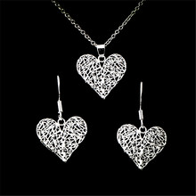 Korean 925 sterling silver earrings necklace new love earrings pendant women's set(China)