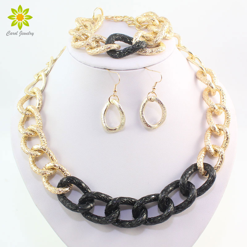 Party Gold Black Plated Jewelry Sets For Women Chain Necklace Bracelet Earrings Set