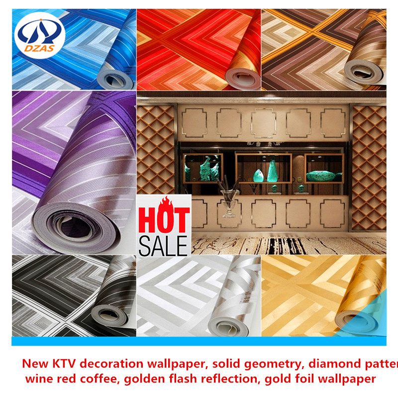 New KTV decoration wallpaper solid geometry diamond pattern wine red coffee golden flash reflection gold foil wallpaper