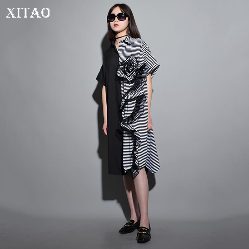 [XITAO] Europe New 2018 Summer Fashion Women Striped Patchwork Single Breasted Dress Female Short Sleeve Loose Dress KZH969