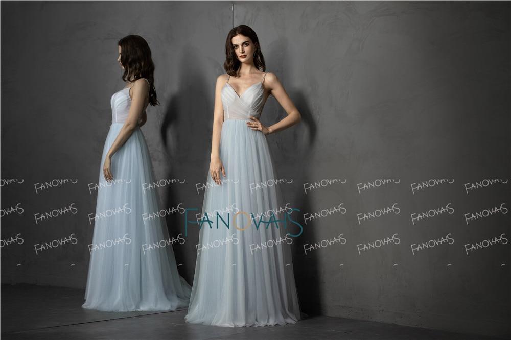 Light Blue Evening Dress Long 2019 Prom Dress Sweetheart Crystal Beaded Back Tulle Formal Dress Evening Party Vestido Festa NE59 in Evening Dresses from Weddings Events