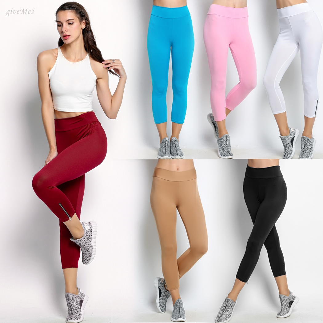 The New Fashion Sexy Woman Leotard Capri Pants High Waist Clipping Slim Stretch Exercise Nine Minutes Of Pants M Xl 10