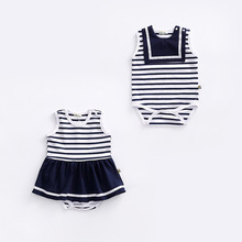 Summer Twin Striped Sailor Romper