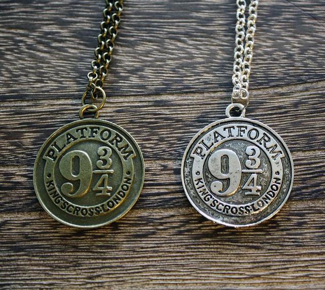 Harry Potter Inspired Hogwarts Express Nine&Three-Quarter 9 3/4 Logo Image Platform Vintage Pendant Necklace Drop Shipping