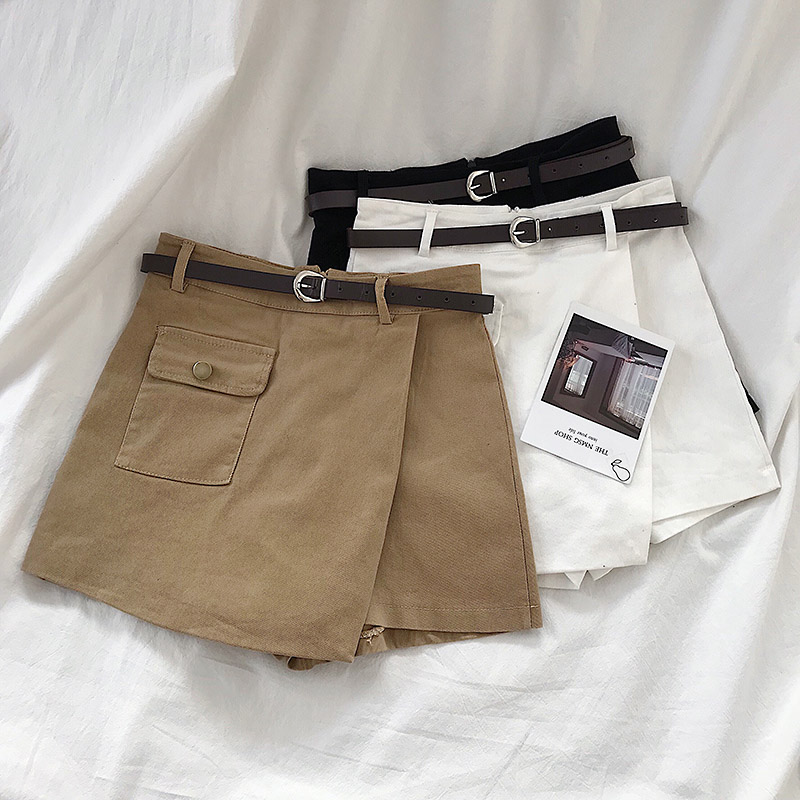 Irregular Skirt   Shorts   Women Spring Summer Korean Simple Single-pocket Wide-legged A-line   Shorts   D710