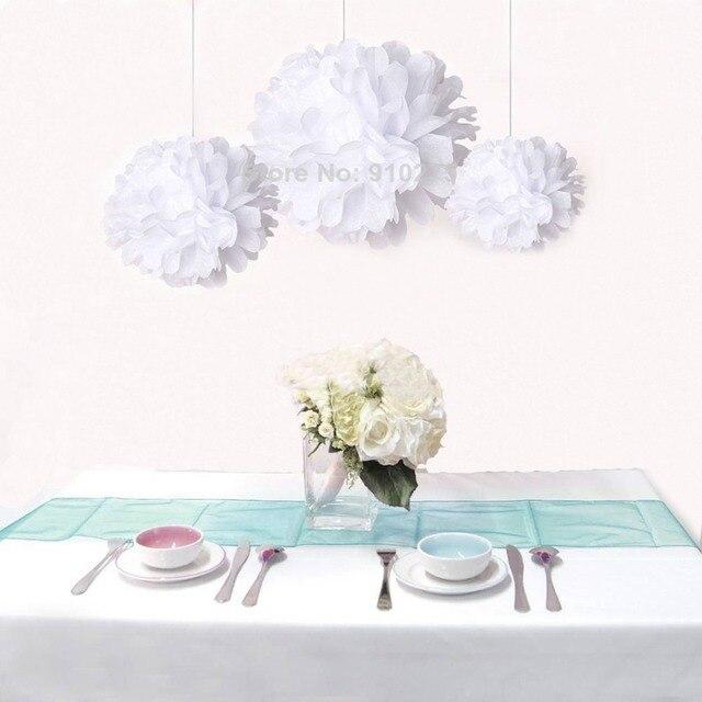 12pcs/lot Mixed Sizes White Tissue Paper Flower Pom Poms Pompoms ...