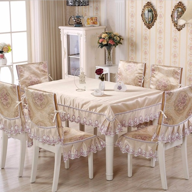 SunnyRain 5 7 Piece Jacquard Luxury Table Cloth Chair Cover Set Pastoral Tablecloth