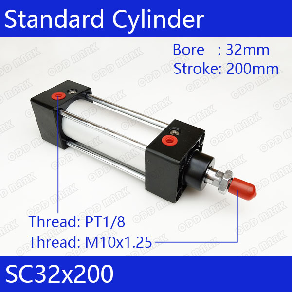 SC32*200 Free shipping Standard air cylinders valve 32mm bore 200mm stroke SC32-200 single rod double acting pneumatic cylinder