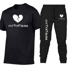 b91f93499 Frete grátis Verão XXXTENTACION Two-piece T-shirt + calças Lazer Sportswear  dos homens