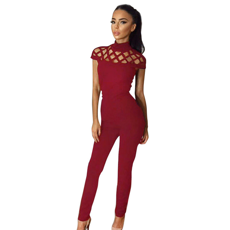 Ladies Choker Hollow Out High Neck Bodycon Caged Sleeves Bodysuit Tops Jushye Women Sleeveless Jumpsuit