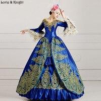 Мария Антуанетта Вдохновленный маскарад платье принцессы Королевский бальное платье/сценический костюм темно синий