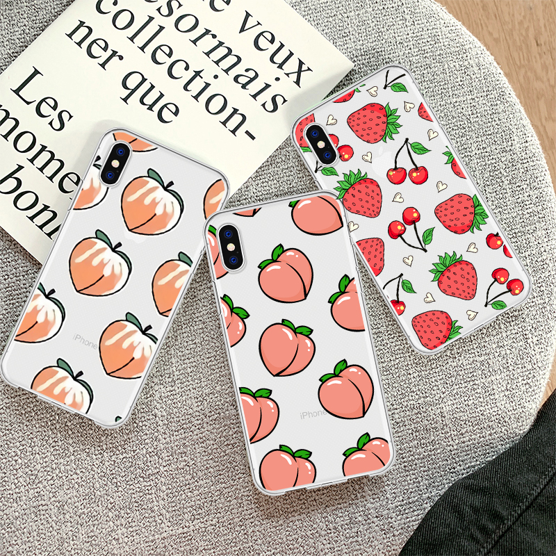 Cartoon Nette Sommer Obst Pfirsich Ananas Telefon Fall Coque Für <font><b>iPhone</b></font> XR 6 6S <font><b>Plus</b></font> X 5 SE Klar telefon Abdeckung Für <font><b>iPhone</b></font> 8 <font><b>7</b></font> <font><b>Plus</b></font> image