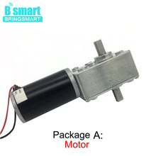 Bringsmart A58SW31ZYS 12V 24V Double Shaft Worm Gear Motor DC High Torque Mini Turbine Worm Reducer Reversible Advertising Board motor worm self locking 12v 24v dc deceleration motor 60w copper turbine shaft washing key slot