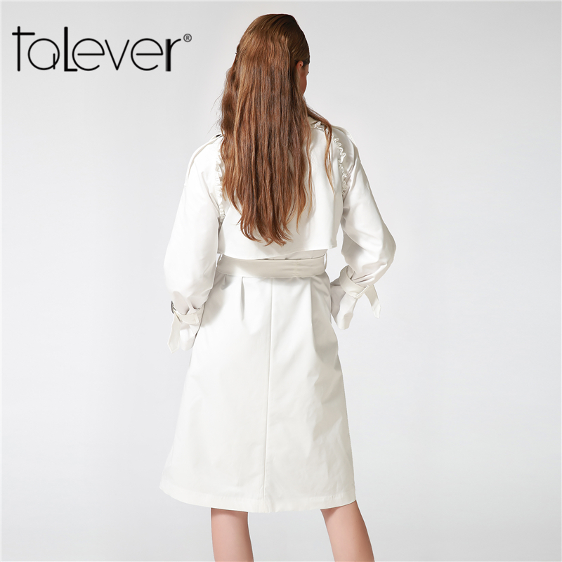 Talever Autumn Winter Trench Coat for Women Adjustable Waist Slim Solid Black Coat White Long Trench Female Outerwear Plus Size 1