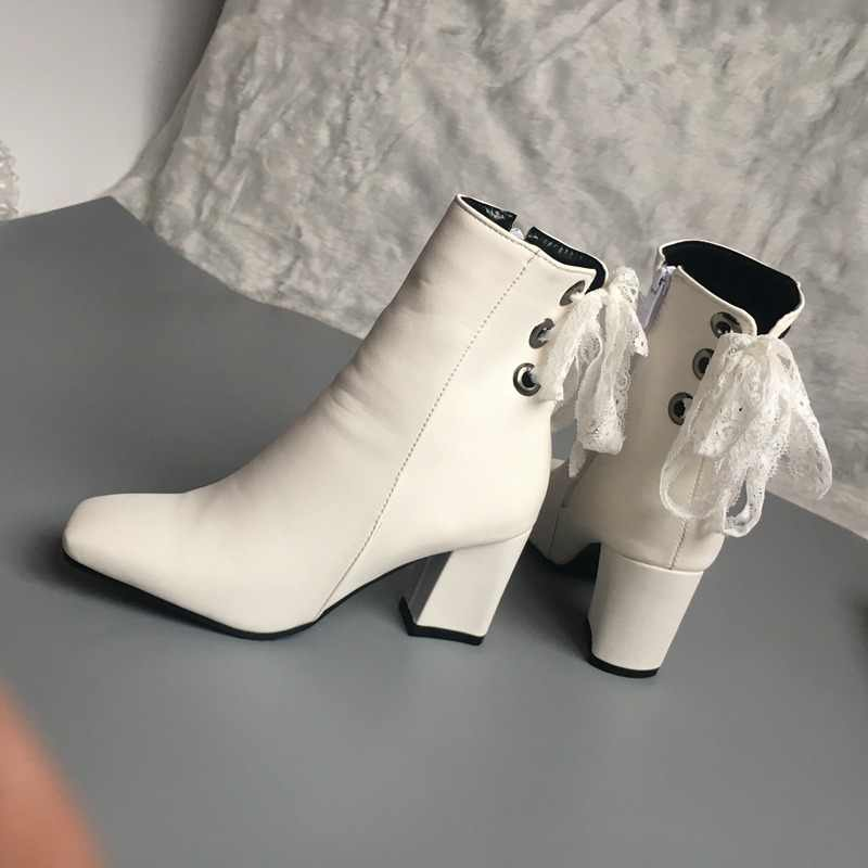 REAVE KEDI yarım çizmeler PU deri Lace up Fermuar Kare ayak Büyük Boy 46 Blok Kalın yüksek topuk Botas feminino mujer kadınlar beyaz
