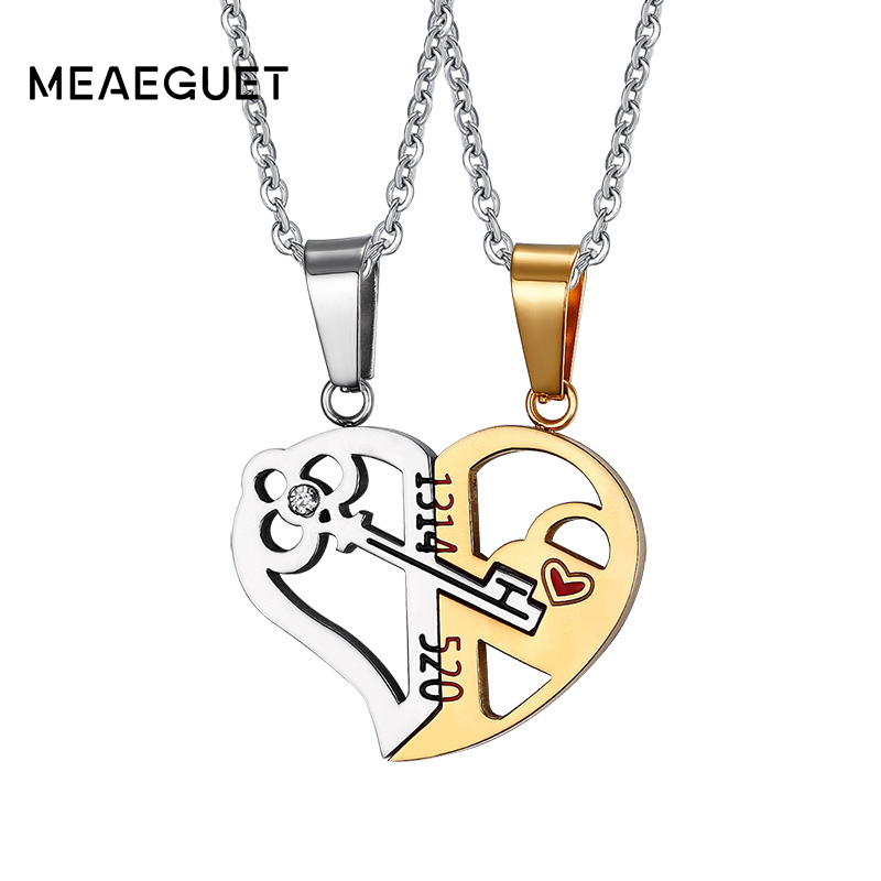 Meaeguet Romantic Couples Heart Key Crystal Pendant Her & His Love Necklace Set Lover Valentine Stainless Steel 24 Chain