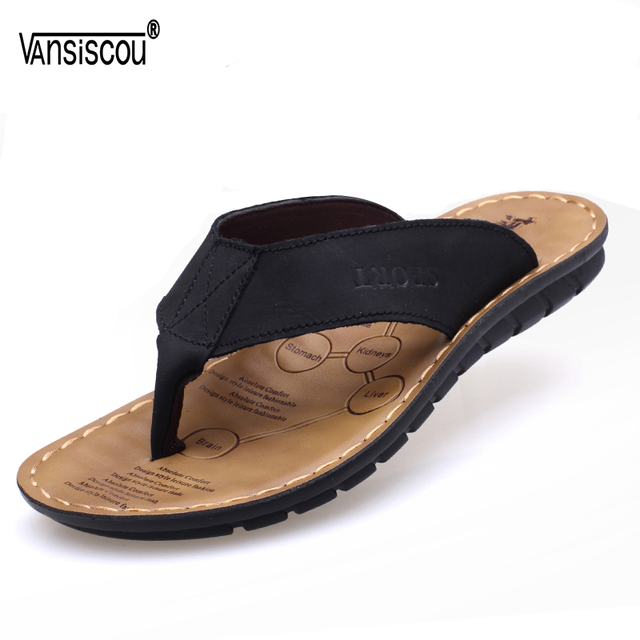 a5aba2f45 VANSISCOU Men Beach Slippers Cow Leather Fashion Flip Flops Male Soft Sole  Breathy Summer Flats Sandals Outdoor Zapatos Hombre