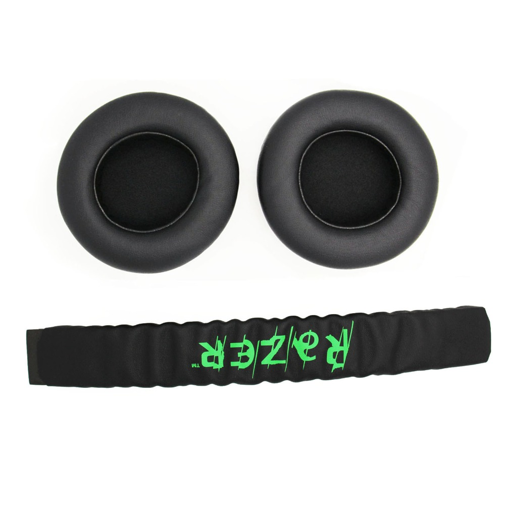 Fitma Replacement Top Headband Plastic Head Band Parts + Ear Pads Cushion For Razer Kraken Pro 7.1 Or Electra Gaming Headphones