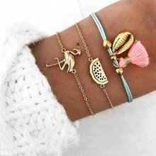 Mix Women Jewelry Bracelets Tassel Watermelon Flamingo Shell Bracelet Set Charm Bracelets Bohemian Jewelry Multilayer Bracelet multilayer tassel diamante jewelry set
