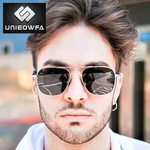 Image 2 - UNIEOWFA Männlichen Klassischen AO Sonnenbrille Männer Polarisierte Fahren UV400 Goggle Sonnenbrille Für Männer Polaroid Legierung Platz Pilot Sunglas