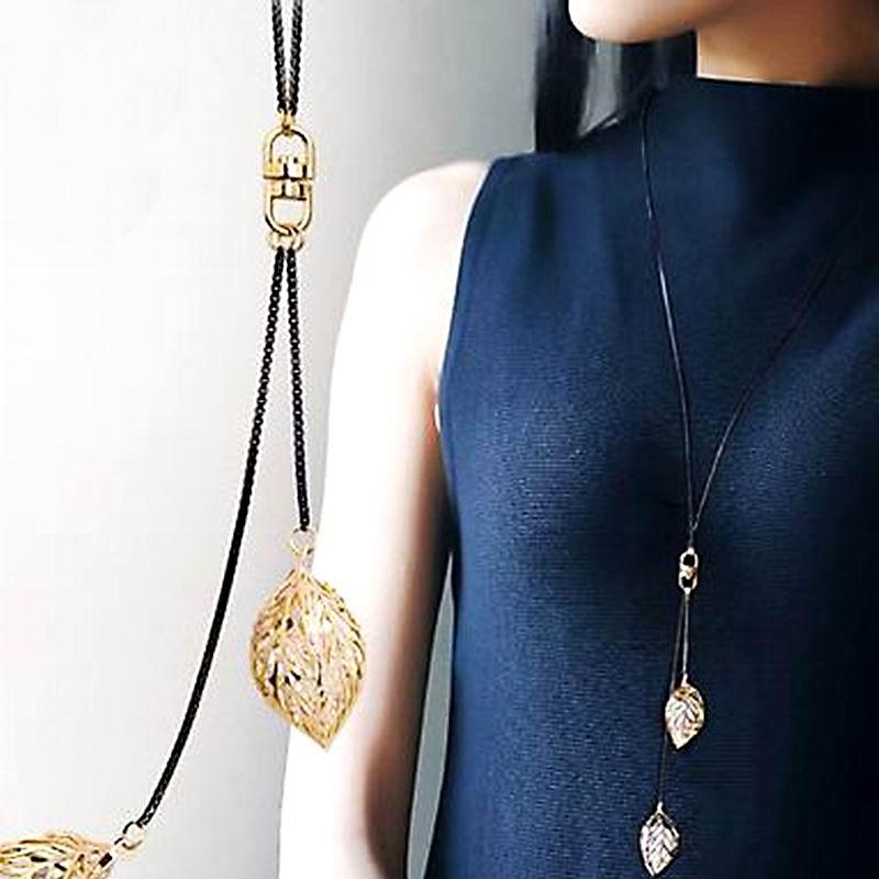 Классический листьев кисточкой Длинные Цепочки и ожерелья Для женщин Bijoux Новый Модные украшения черный Цепи и Подвески