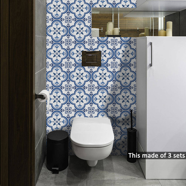 10pcslot Portugal Blue Pattern Tile Stickers For Kitchen Bathroom - Blue-bathroom-tile-stickers