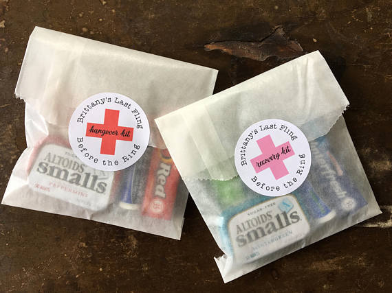 Personalized 2'' Wedding Bridal Shower Favor Labels Envelope Seals, Tattoo With Hangover Recovery Kit Bag Stickers Favor Package
