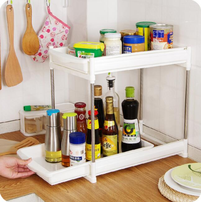 Double Layer Spices Organizer With Drawer Floor Seasoning Storage Rack